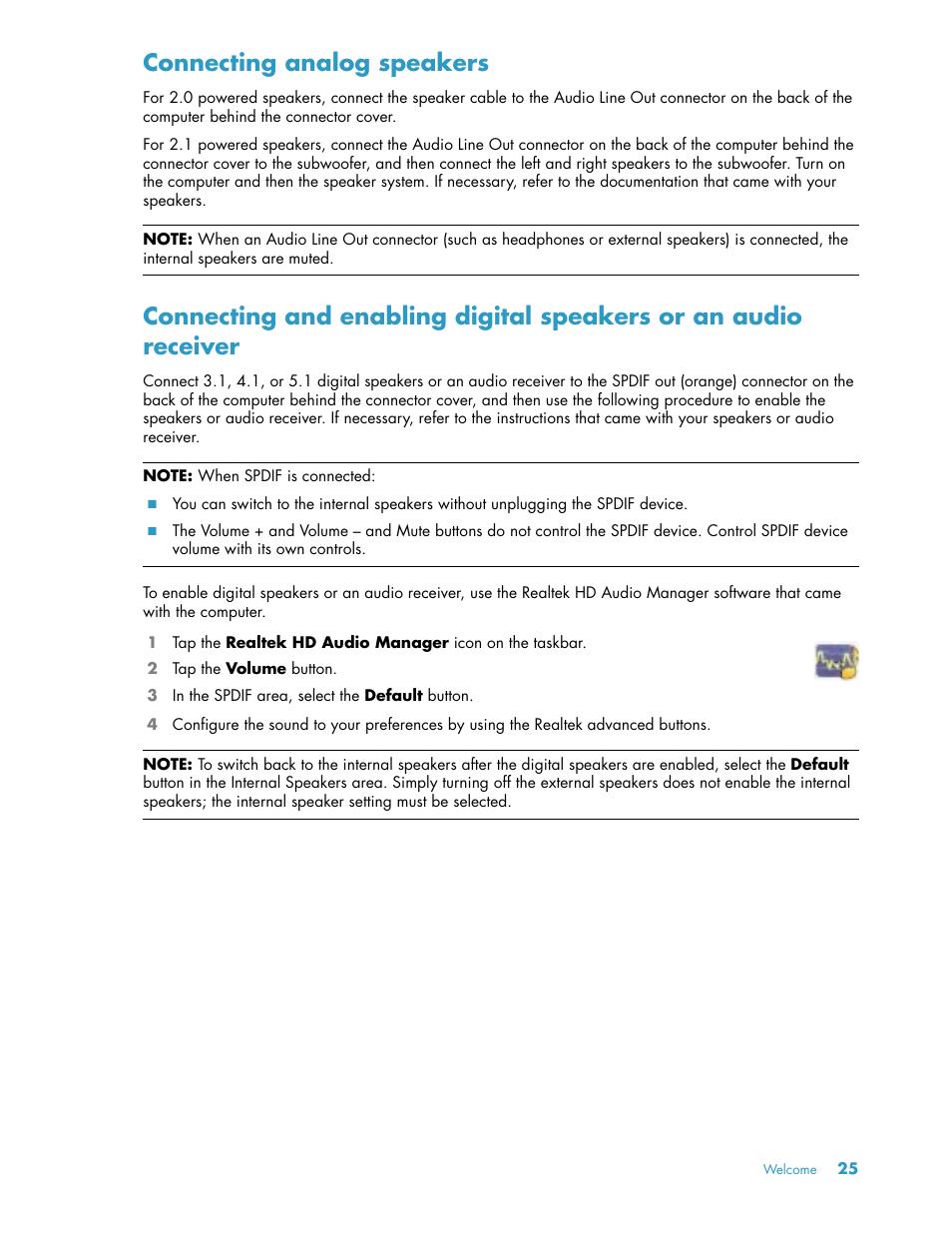 Connecting analog speakers   HP TouchSmart 600-1152 Desktop
