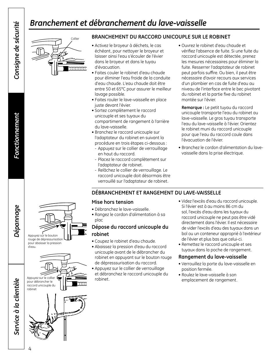 Branchement Et Débranchement Du Lave Vaisselle | GE GSC3500DWW Manuel  Du0027utilisation | Page 28 / 48