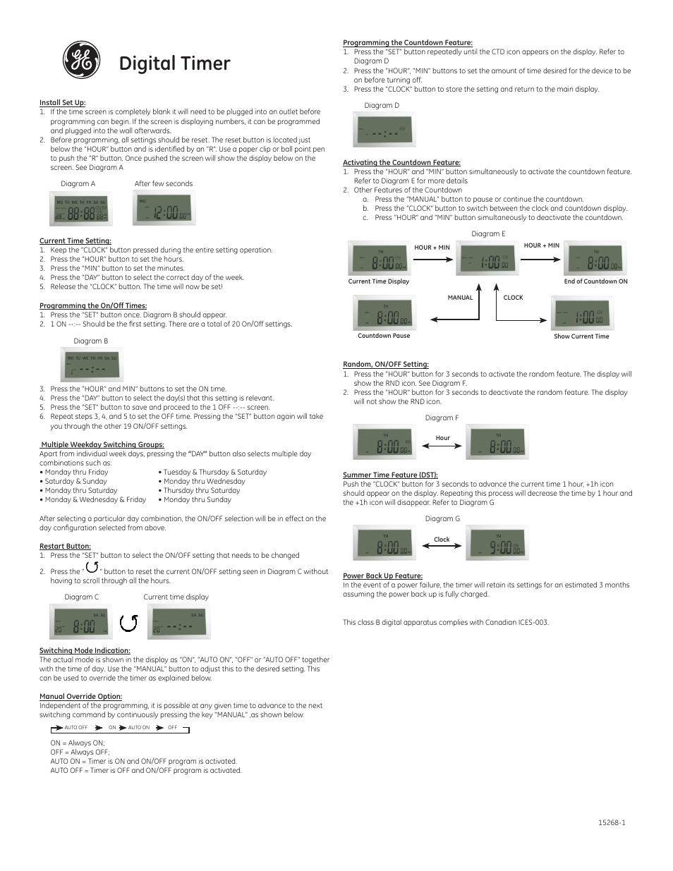 Ge 15268 Plug In Digital Timer Manuel Dutilisation Pages 2