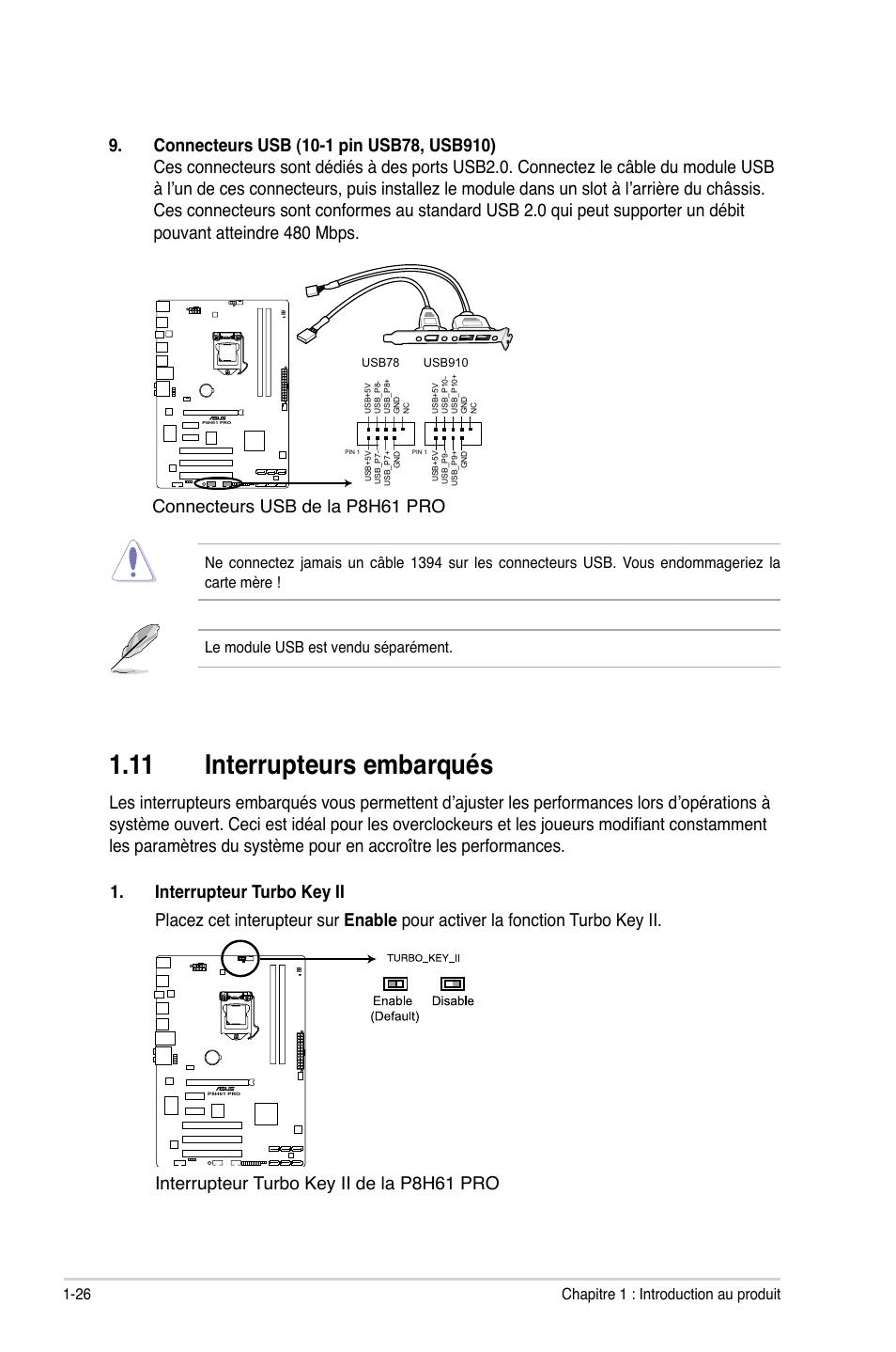11 interrupteurs embarqués, Connecteurs usb de la p8h61 pro