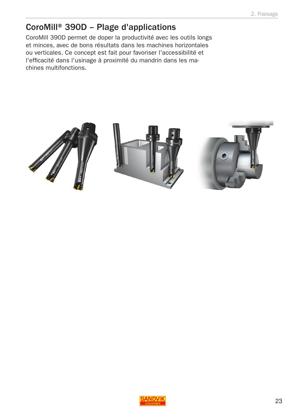 Coromill® 390d – plage d'applications | Sandvik Coromant Silent