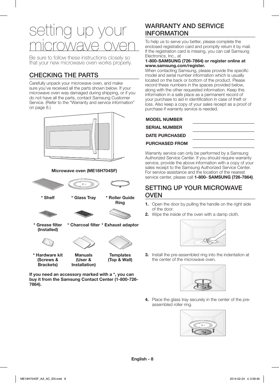 Setting Up Your Microwave Oven Checking The Parts Warranty And Service Information Samsung Me18h704sfb Aa Manuel D Utilisation Page 8 56