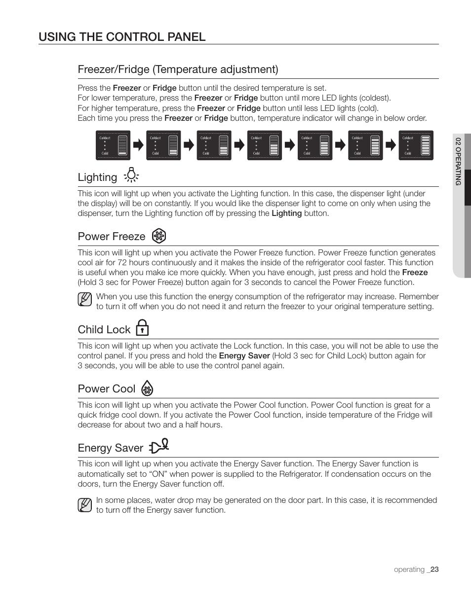 Using The Control Panel Freezer Fridge Temperature Adjustment On Off Lighting Samsung Rs263tdrs Xaa Manuel Dutilisation Page 23 68