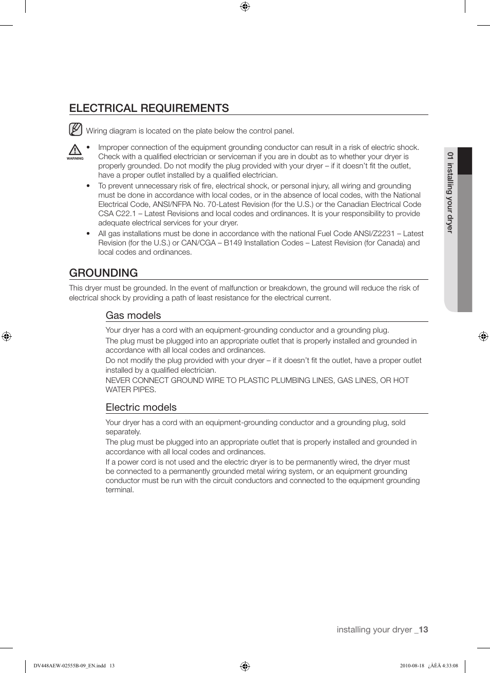 Electrical Requirements Grounding Gas Models Samsung Dv448aep Aep Wiring Diagram Xaa Manuel Dutilisation Page 13 76