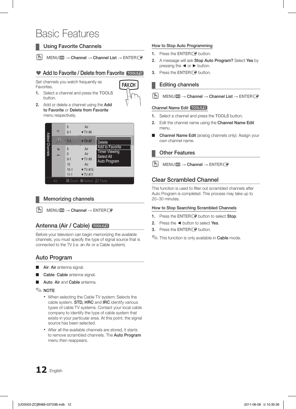 Basic features, Add to favorite / delete from favorite, Antenna (air /  cable) | Samsung LN32D403E2DXZA Manuel d'utilisation | Page 12 / 71