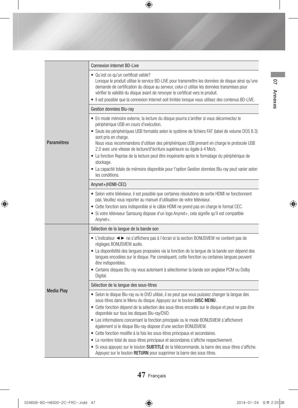 bd-h6500/za pdf