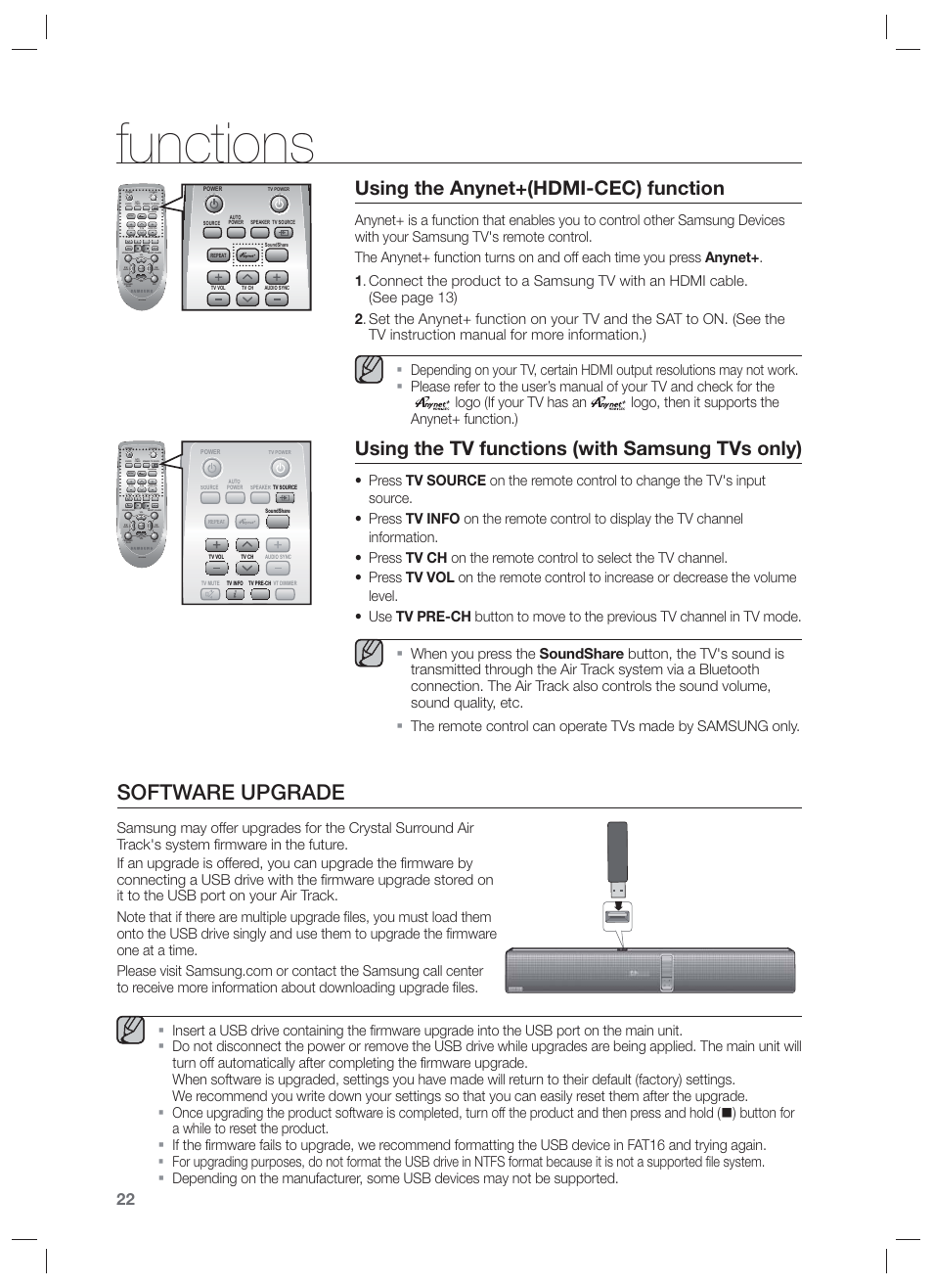 Functions, Software upgrade, Using the anynet+(hdmi-cec