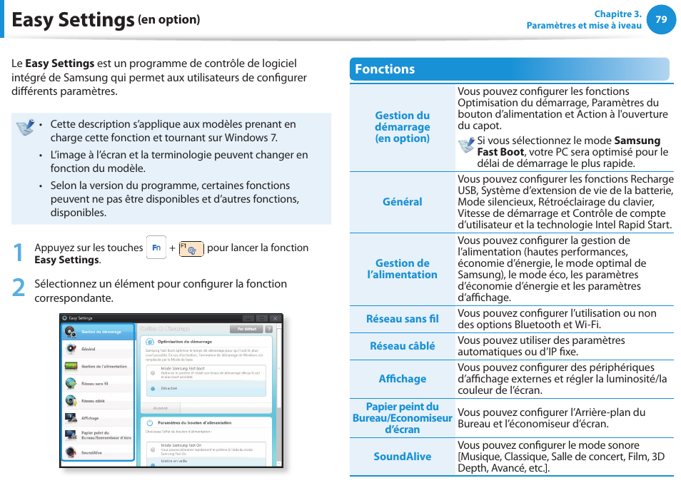ea9e8011156886 Easy settings (en option), Easy settings   Samsung NP270E5E Manuel  d utilisation   Page 80   130