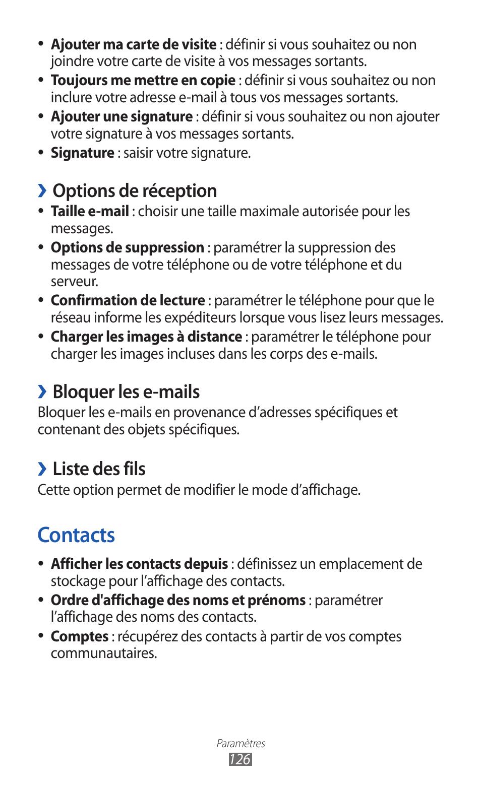 Contacts Options De Reception Bloquer Les E Mails
