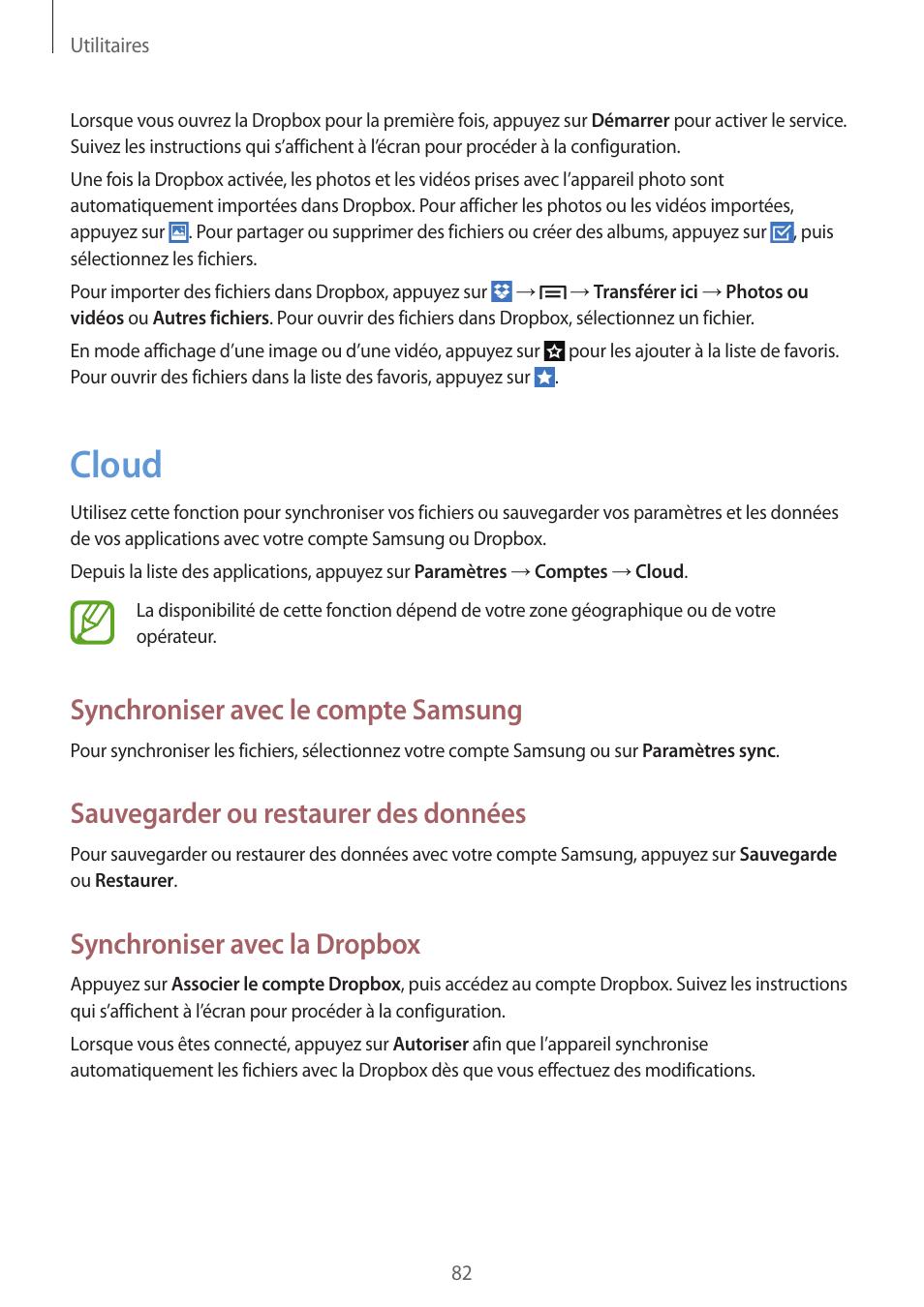 82 cloud, Cloud, Synchroniser avec le compte samsung | Samsung GT