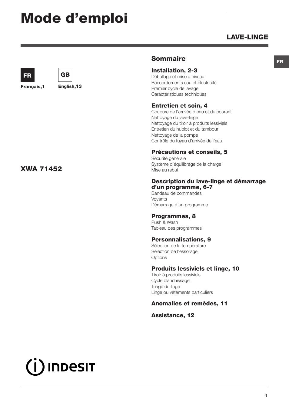 Indesit xwa 71452 w fr manuel d 39 utilisation pages 24 - Cookeo mode d emploi ...
