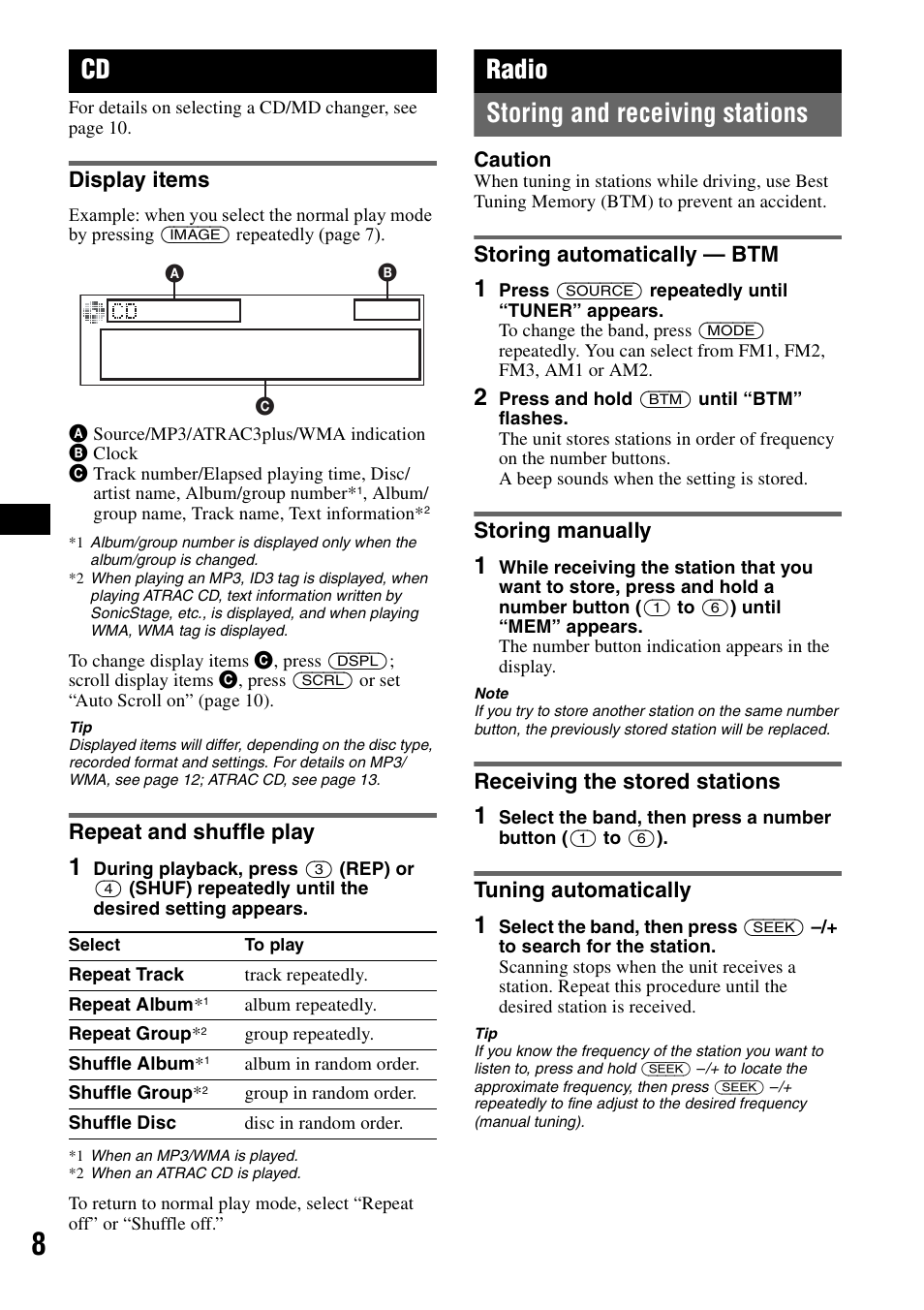display items, repeat and shuffle play, radio | sony cdx-gt500 manuel  d'utilisation | page 8 / 36
