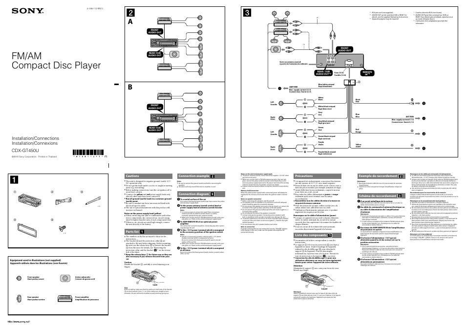 sony cdx gt450u manuel d 39 utilisation pages 2. Black Bedroom Furniture Sets. Home Design Ideas