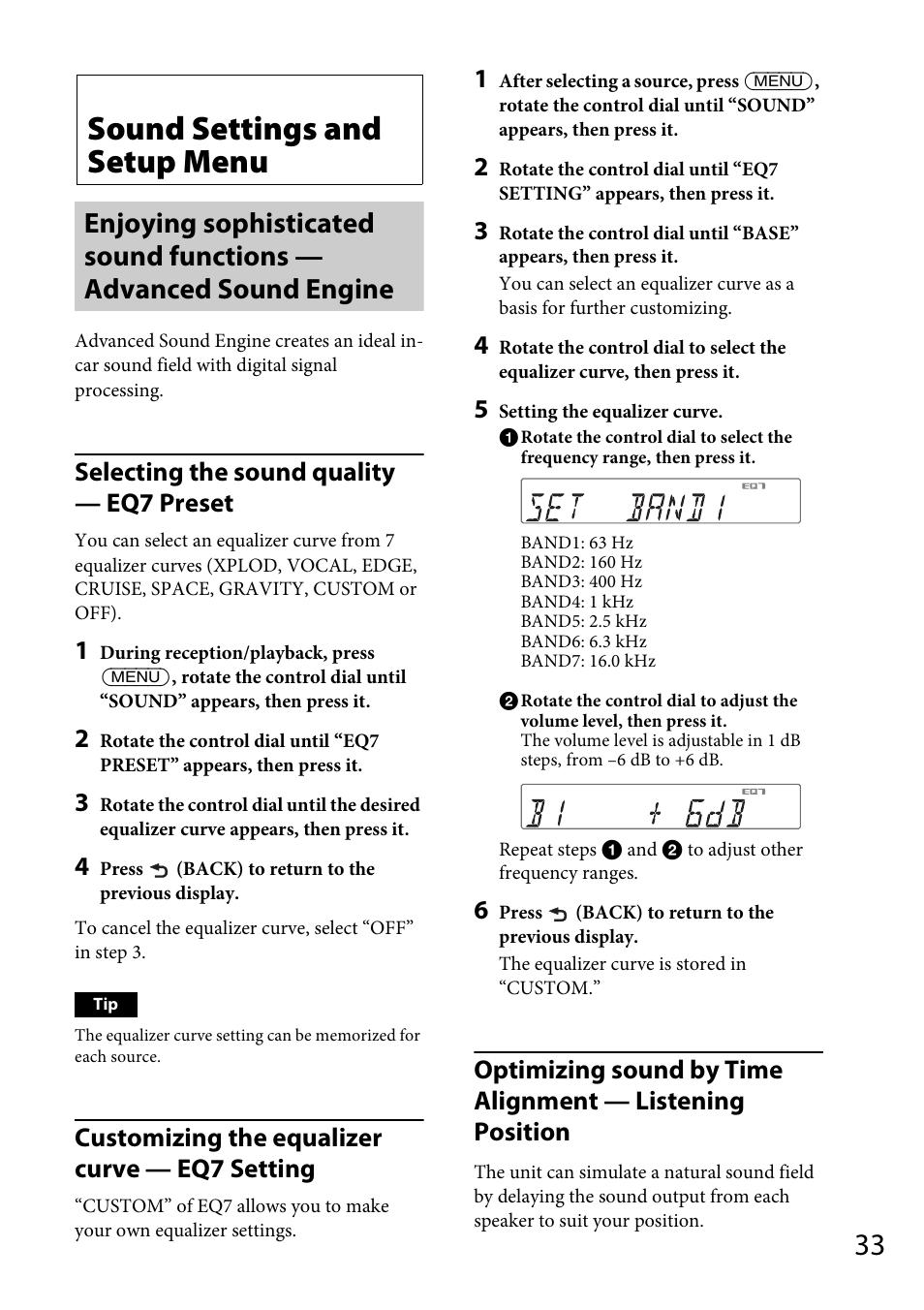 Sound settings and setup menu, Selecting the sound quality — eq7