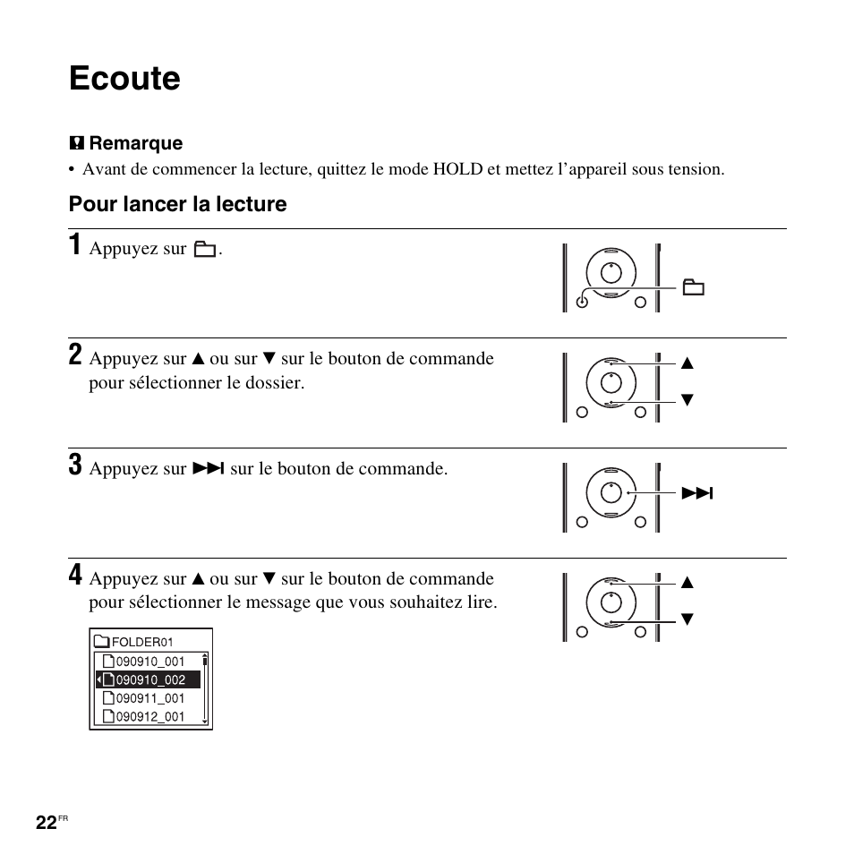 Ecoute | Sony ICD-UX200 Manuel d'utilisation | Page 22 / 128