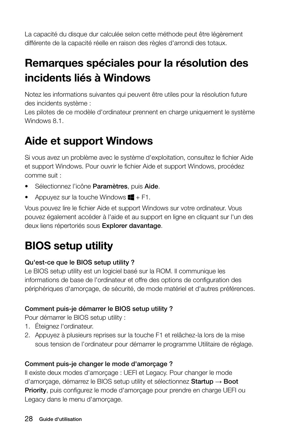 Aide Et Support Windows Bios Setup Utility Lenovo H50 00 Desktop