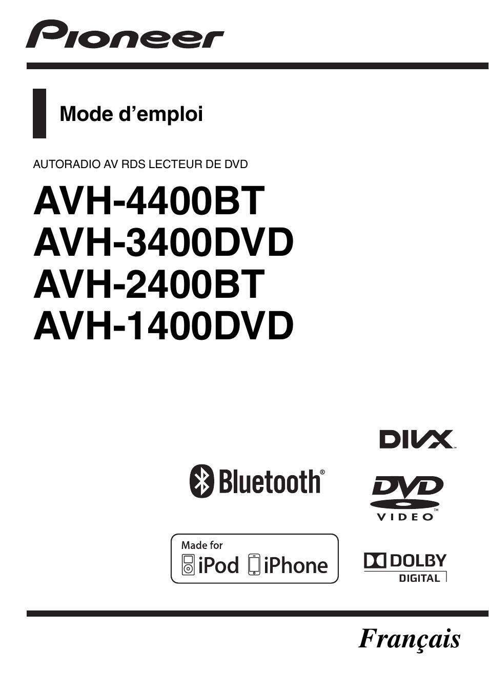 manuals  pioneer avh bt dvd