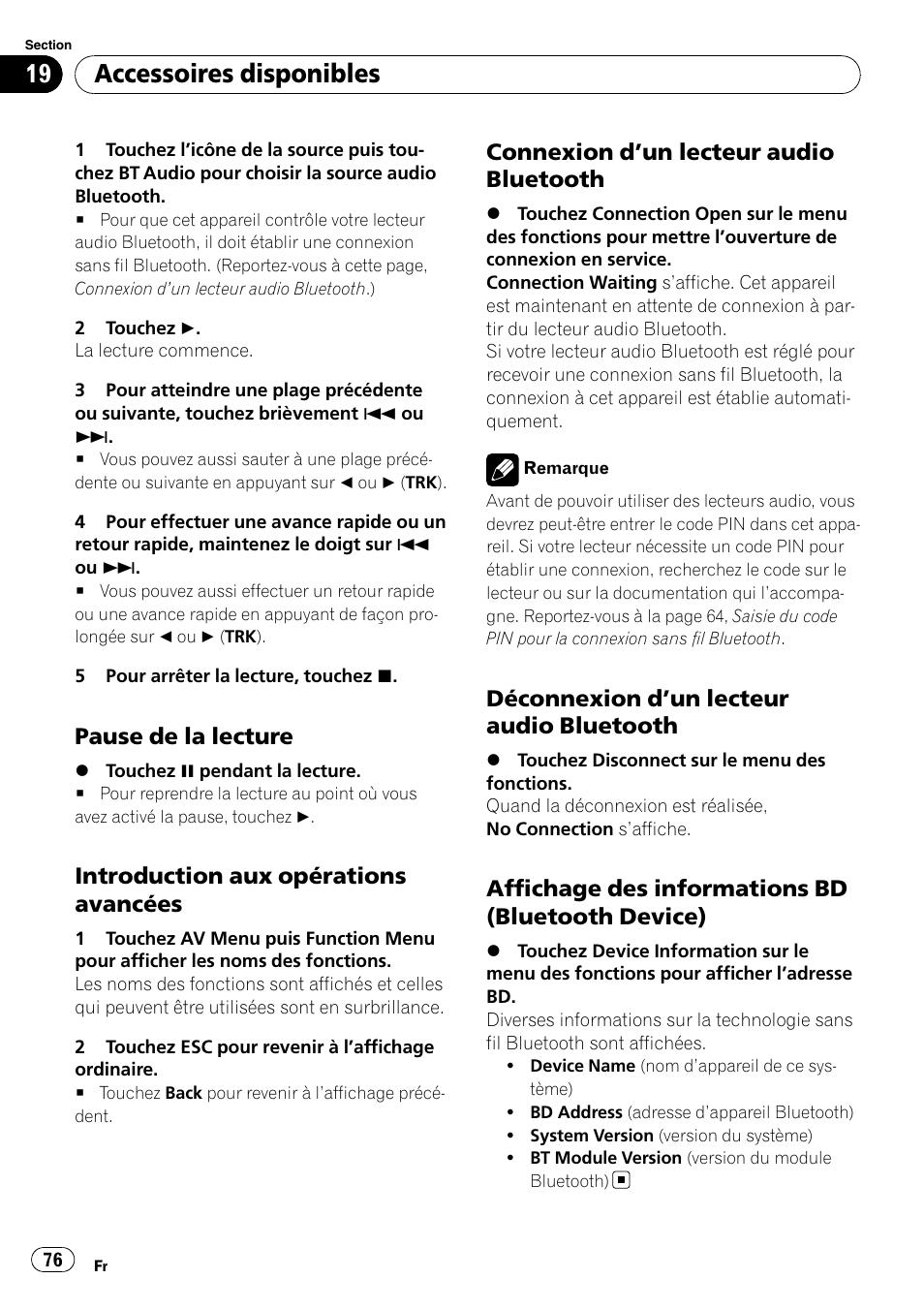 La Connexion Saute Ou Si Votre News Aggregator Pioneer Avh P3100dvd Bluetooth Accessoires Disponibles Pause De Lecture Introduction Aux Oprations Avances