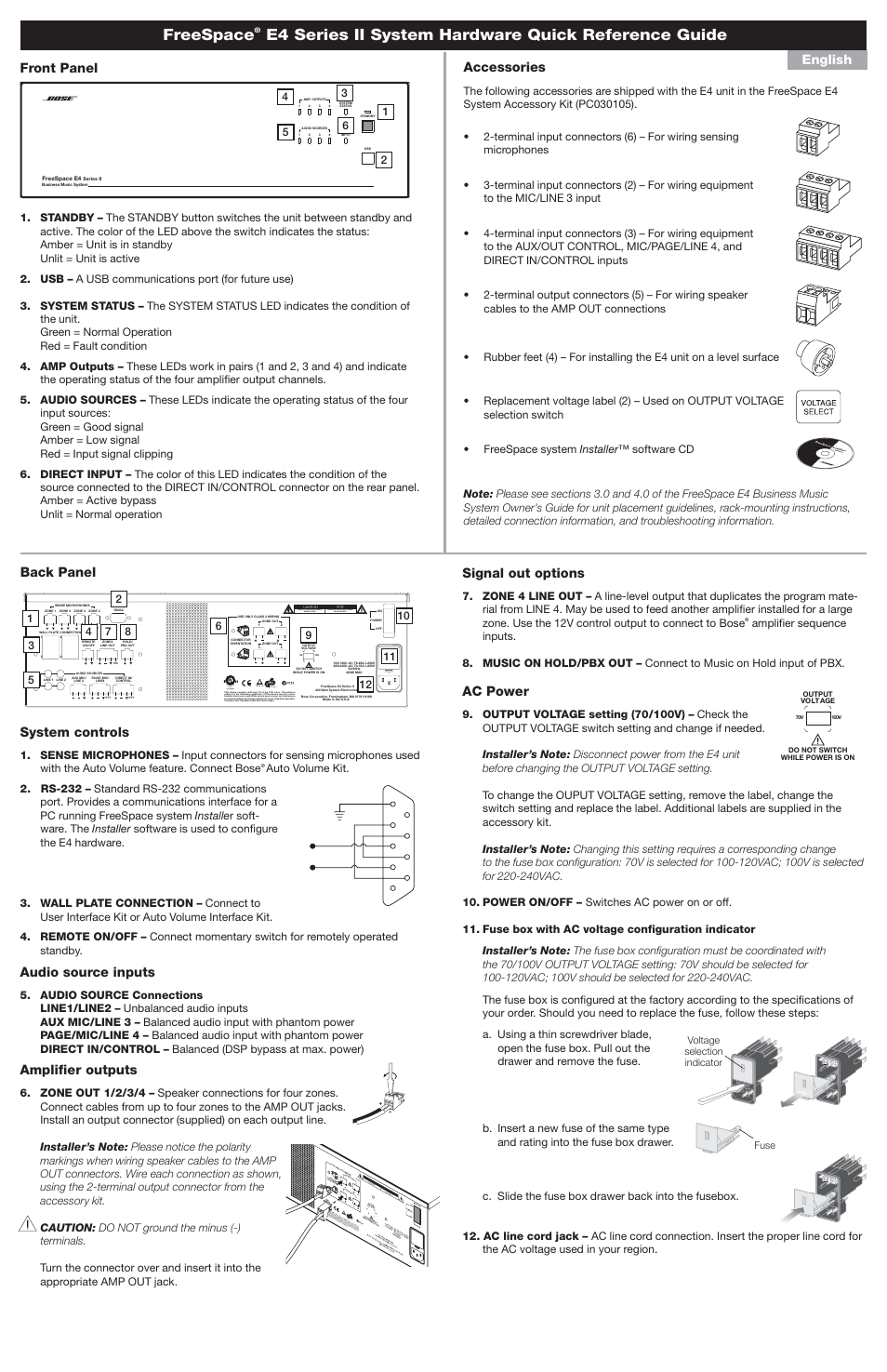 Freespace E4 Series Ii System Hardware Quick Reference Guide Ac Voltage Wiring Signal Out Options Bose Manuel Dutilisation Page 2 4