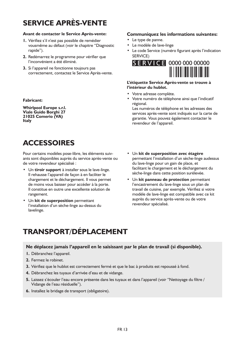 service après-vente, transport/déplacement accessoires   whirlpool