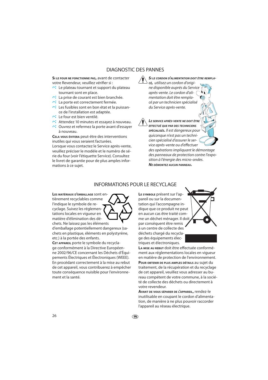diagnostic des pannes, informations pour le recyclage   whirlpool jt