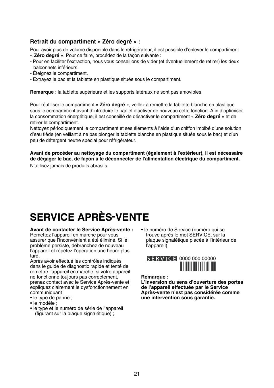 service après-vente   whirlpool art 883-a+-nf manuel d'utilisation