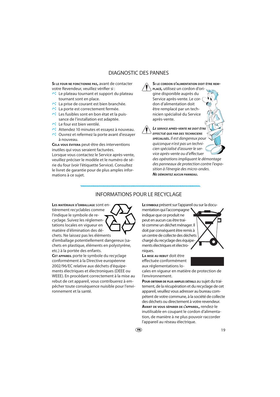 diagnostic des pannes, informations pour le recyclage   whirlpool vt