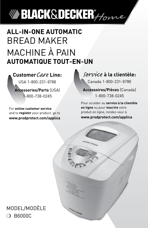machine a pain black decker b6000c manual