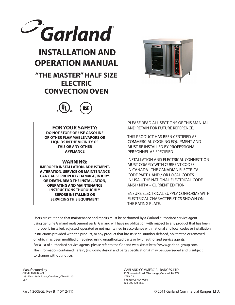 Garland THE MASTER HALF SIZE ELECTRIC CONVECTION OVEN Manuel d ...