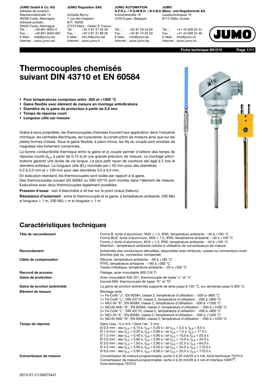 Thermocouple Wire Spec Sheet - WIRE Center •