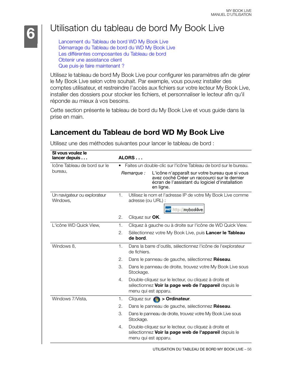 Utilisation du tableau de bord my book live, Lancement du