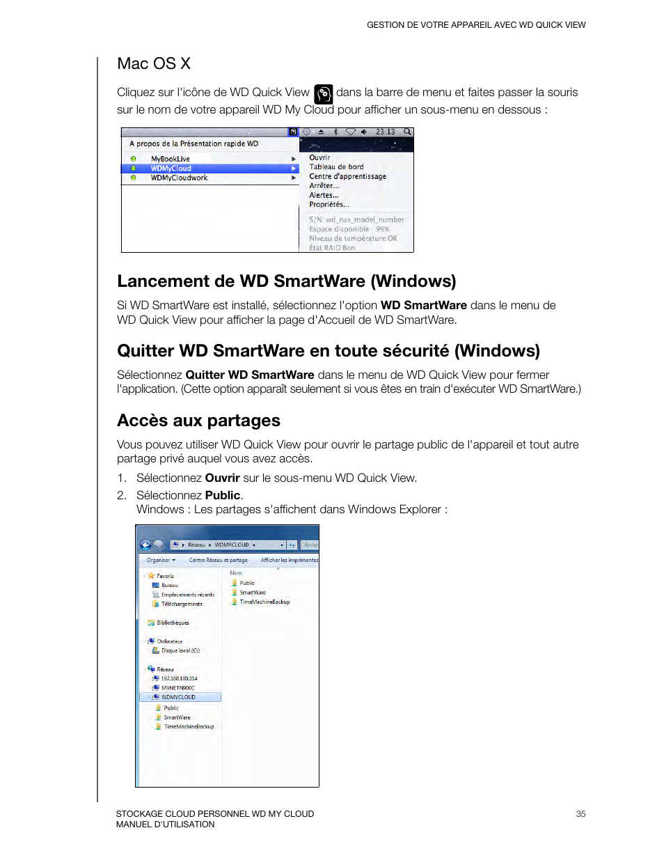 Mac os x, Lancement de wd smartware (windows), Quitter wd smartware