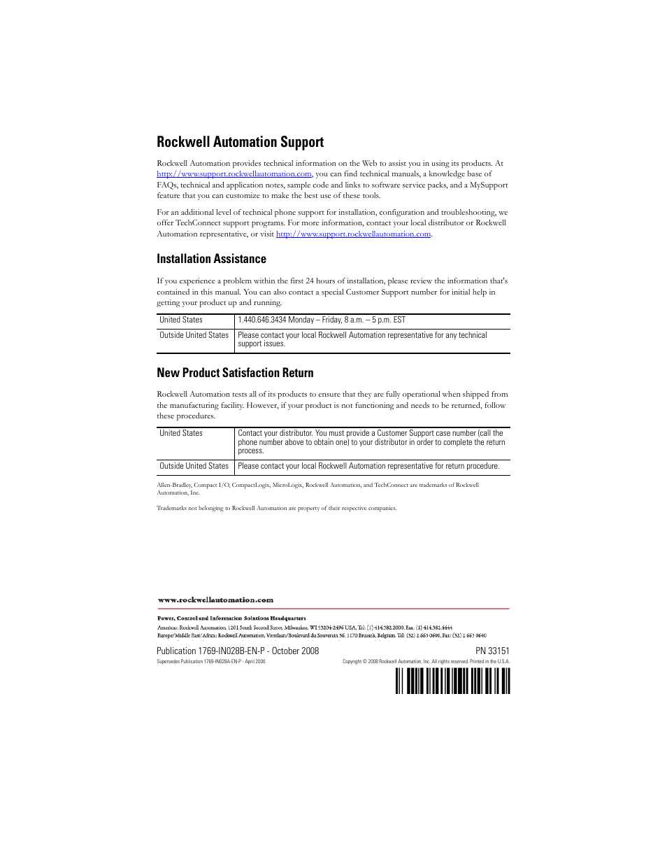 Back cover, Pn-3•?sz, Rockwell automation support   Rockwell