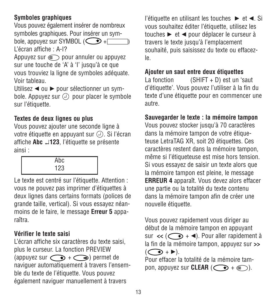 Abc 123 Dymo Letratag Xr Manuel Dutilisation Page 17 30
