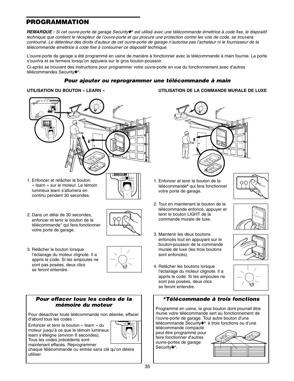 Programmation t l commande trois fonctions craftsman for Telecommande ouvre porte de garage