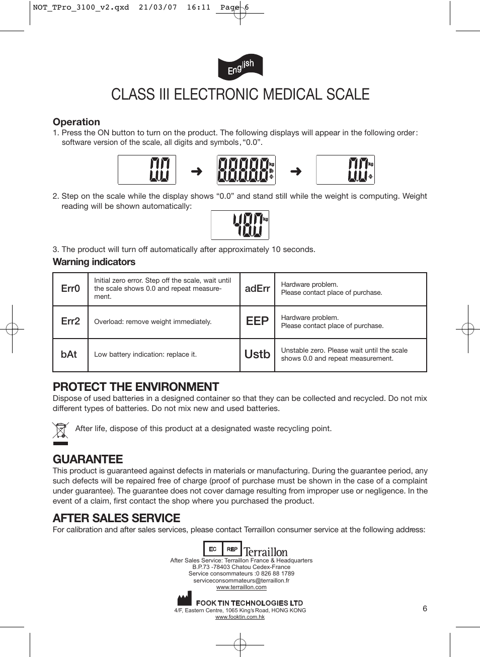 class iii electronic medical scale, ustb, protect the environment