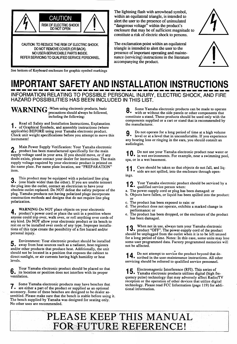 Please keep this manual foreuture reference   Yamaha Clavinova CVP-35  Manuel d'utilisation   Page 2 / 46