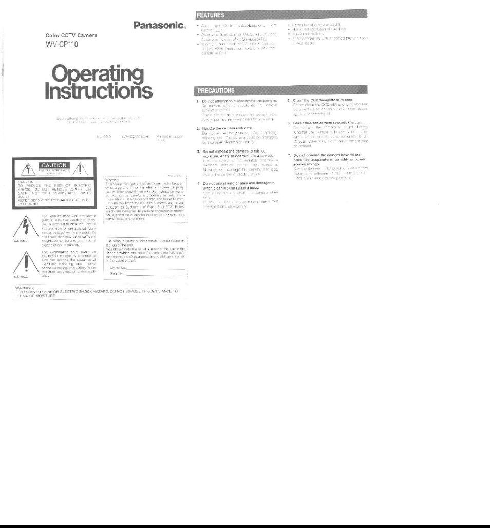 Panasonic WV-CP110 Manuel d'utilisation | Pages: 8