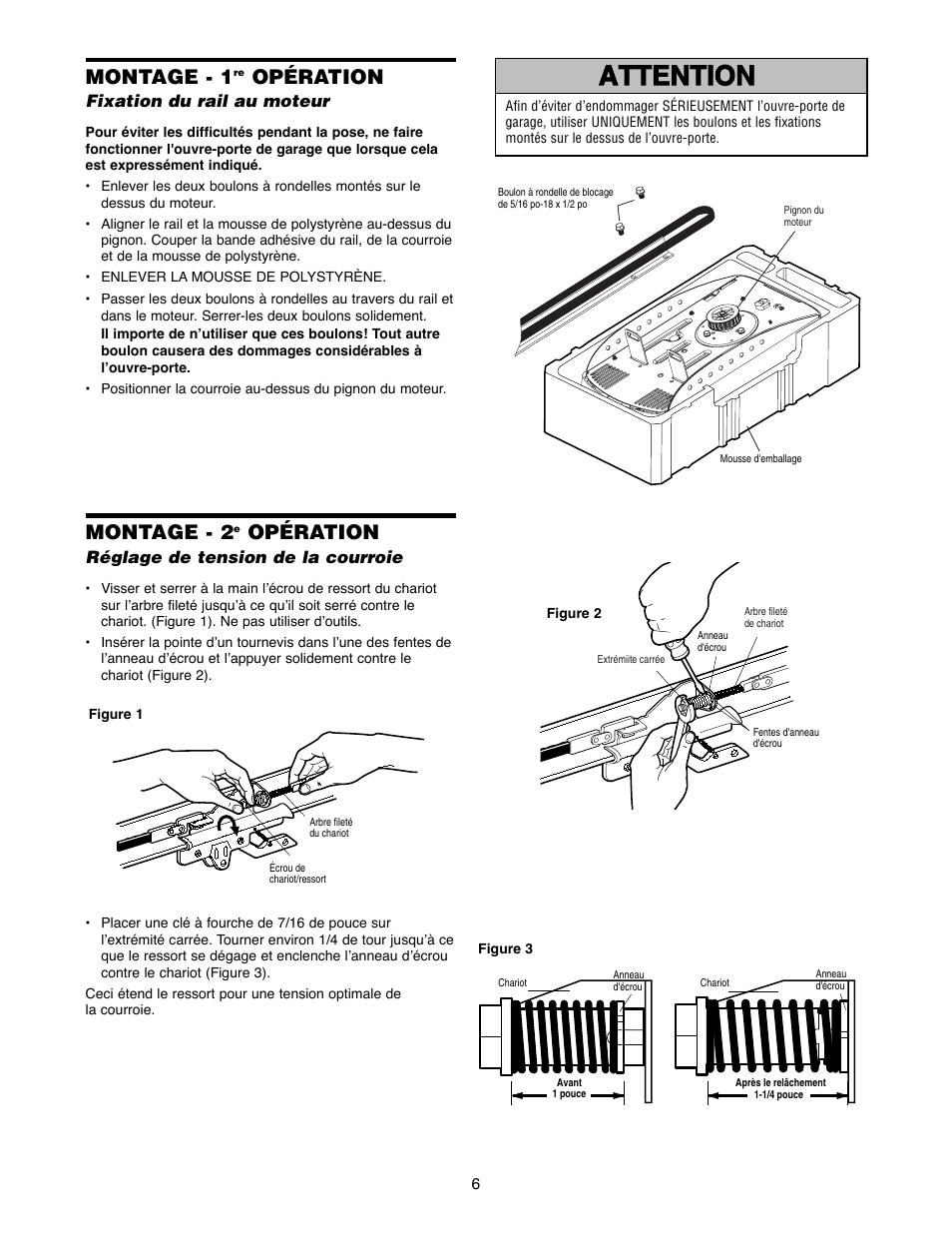 montage montage 1re op ration fixation du rail au moteur montage 1 chamberlain 2500bc. Black Bedroom Furniture Sets. Home Design Ideas
