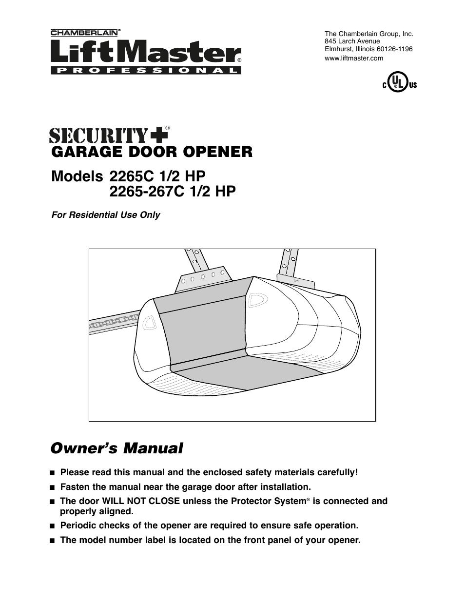 Liftmaster 1 2 Horsepower Garage Door Opener Manual