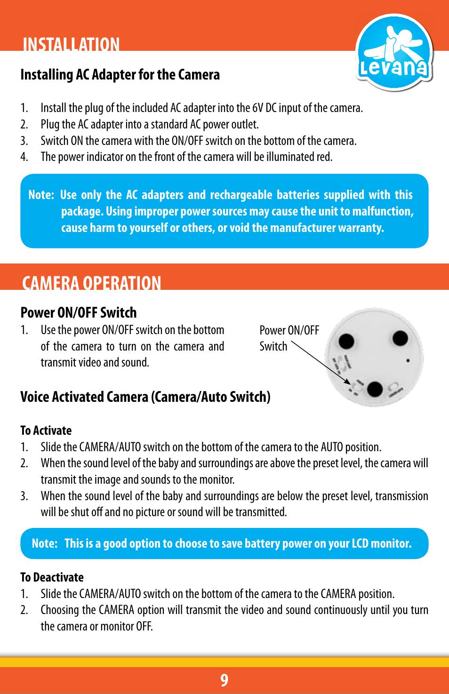 Installation Camera Operation Levana Lv Tw301 C Manuel D Auto Off Power Source Dutilisation Page 9 32