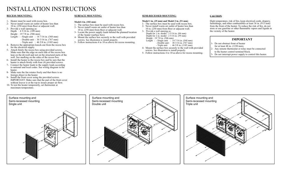 installation instructions important  reznor eha unit