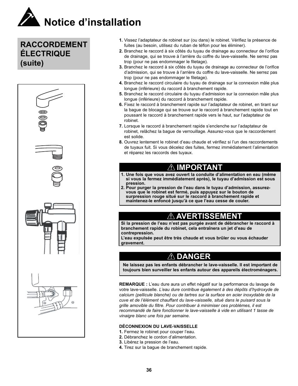 notice dinstallation raccordement lectrique suite important danby ddw611w manuel dutilisation page 37 43 - Adaptateur Robinet Lave Vaisselle