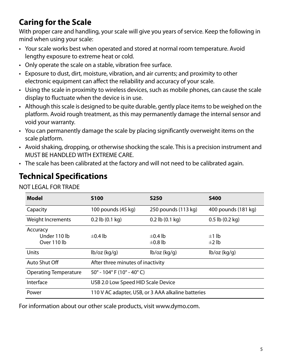 Caring For The Scale Technical Specifications Dymo S250 Manuel D Utilisation Page 9 26