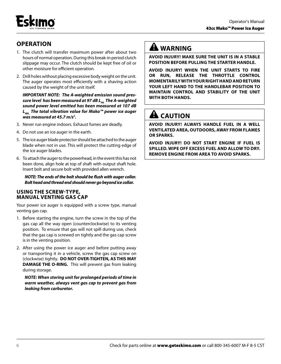 Caution, Warning, Operation | Eskimo S33Q8 Manuel d