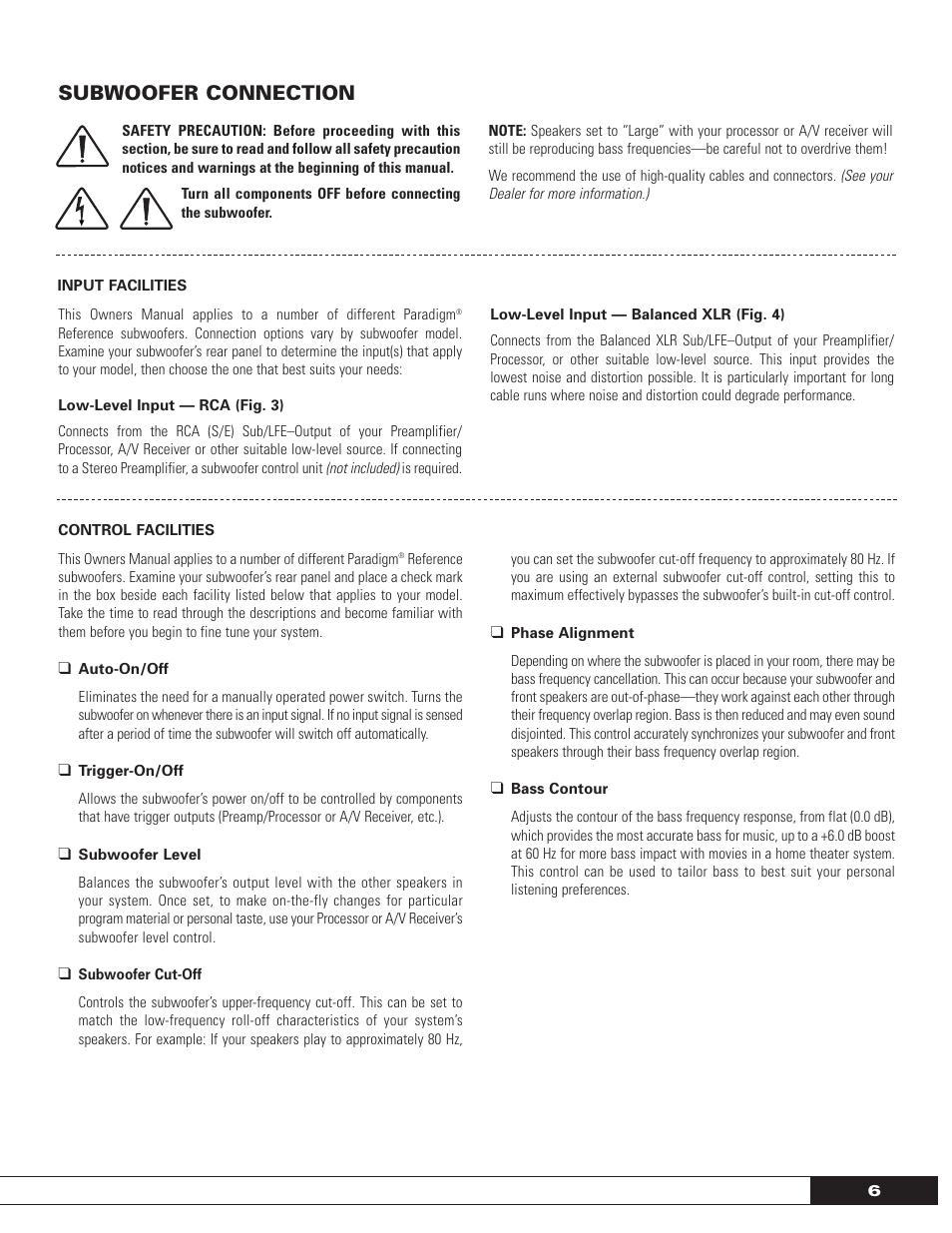 Subwoofer Connection Paradigm Sub 15 Manuel Dutilisation Page 7 Schematic Balanced Xlr To Connections 20