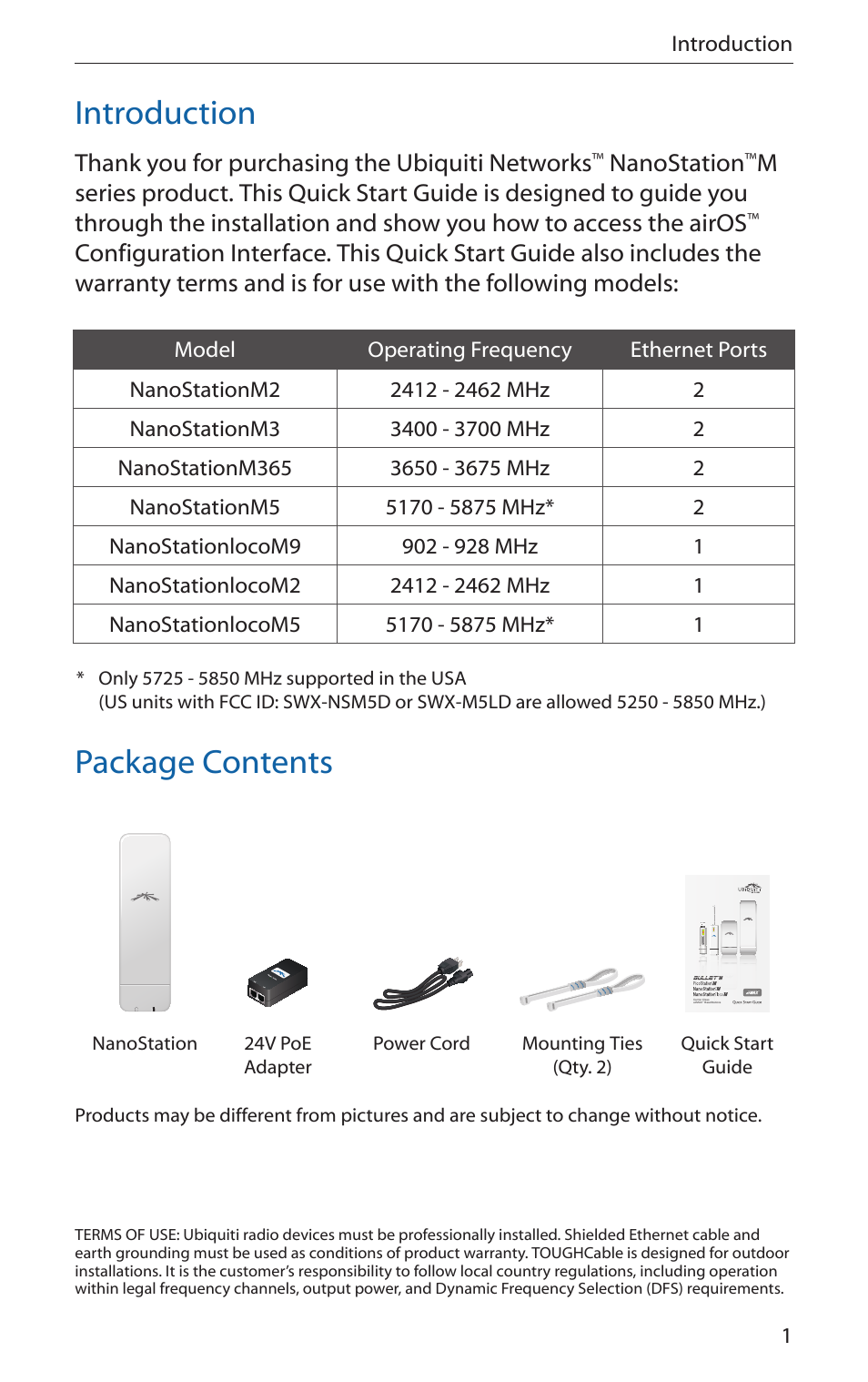 Introduction, Package contents, Nanostation | Ubiquiti
