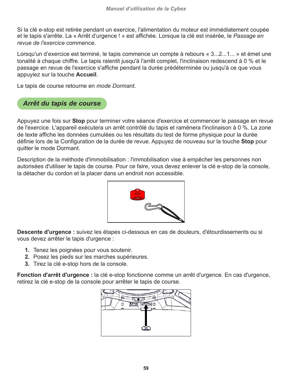 Arret Du Tapis De Course Cybex 790t Treadmill Manuel D Utilisation