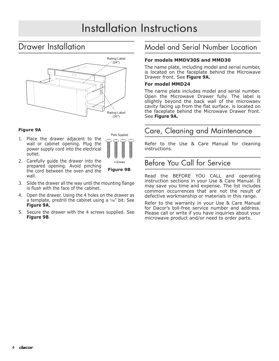 Installation Instructions Drawer Model And Serial Dacor Wall Oven Wiring Diagram Number Location Mmdv30s Manuel Dutilisation Page 8 16