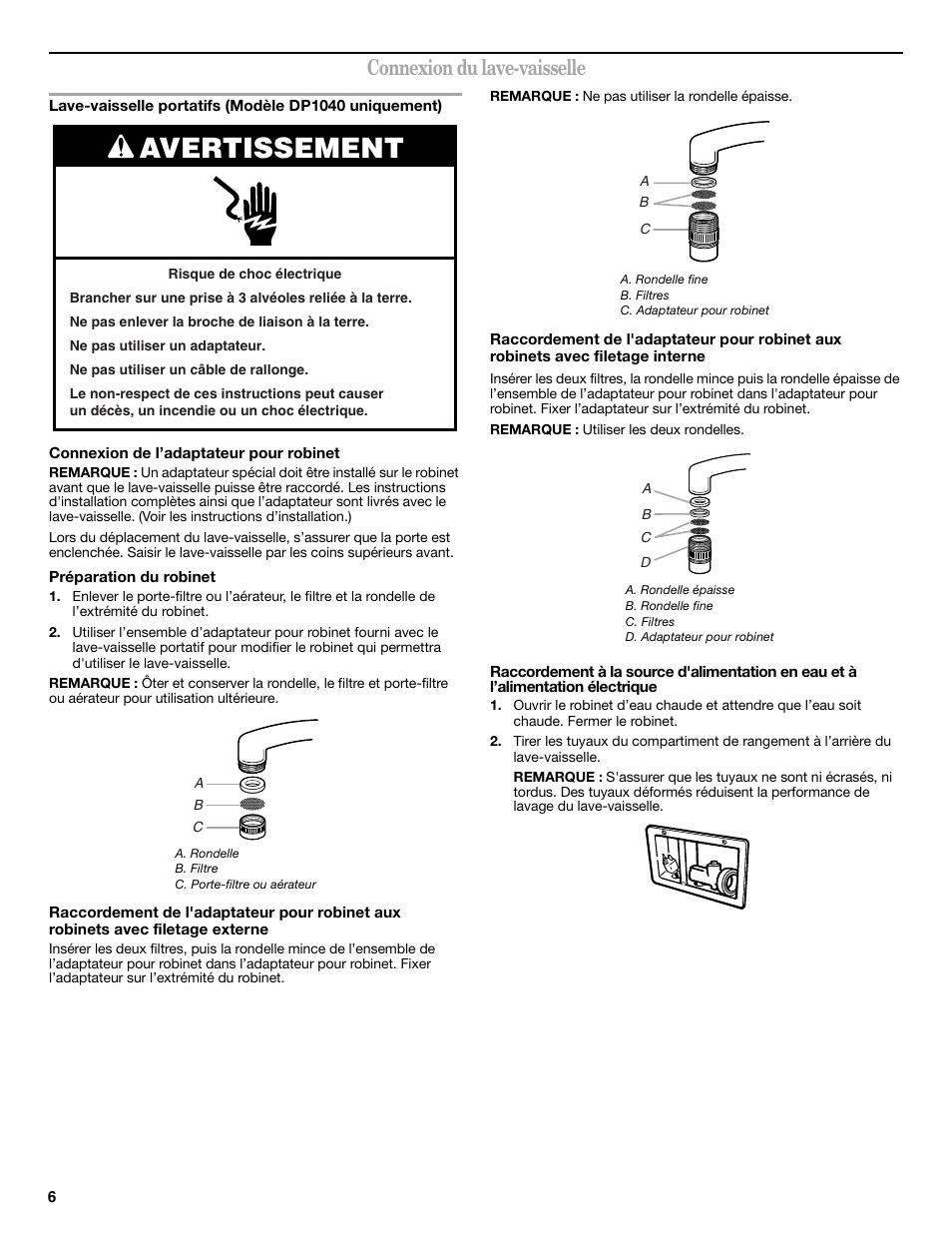 Avertissement Connexion Du Lave Vaisselle Maytag W10275146 Manuel